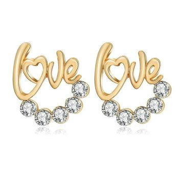 Gold Love Crystal Studs