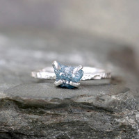Raw Diamond Ring - Blue Diamond Engagement Rings - Rough Uncut Diamond - Sterling Silver - April Birthstone - Rustic Jewellery