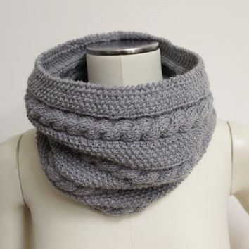 Gray Knit Infinity Scarf, Wool Snood, Cable Knit Scarf, Knit Neck Warmer, Gray Knitted Cowl, Cable Cowl, Knit Circle Scarf, Knitted Snood