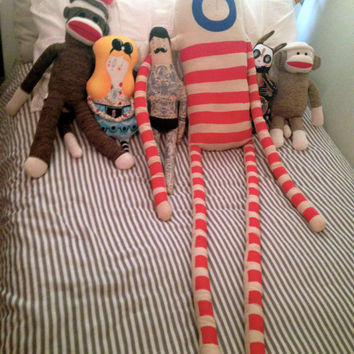 OOAK Sweet Giant Oscar the King in Red - Soft Handmade Plush - Striped Painted Art Doll Hipster