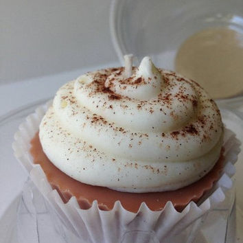 Pumpkin Pie Scented Soy Cupcake Candle, Dessert Candle, Fall Scents
