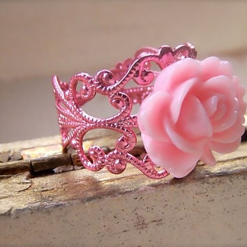 Pink Bling Ring, Resin Cabochon Rose Flower, Pink Metallic Filigree Ring, Feminine, Bridesmaid, Summer Fashion
