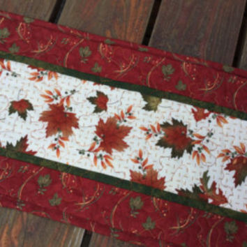Fall Table Runner, Fall Quilted Table Runner, AutumnTable Runner, Maple Oak Leaf Runner, Sunflowers Pumpkins Table Runner, Rust Green Orange