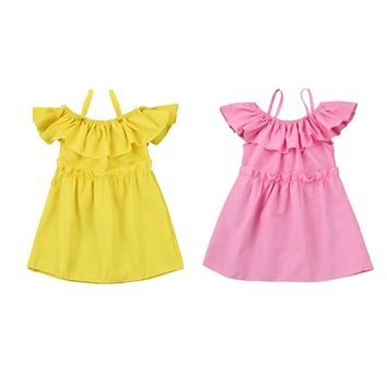 MUQGEW Dress Girl Wedding Baby Kids Girls Off Shoulder Strap Dress Clothes Outfits Summer Dress Girl Vestido Infantil C06
