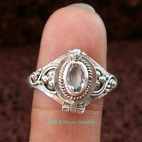 Small Bali Sterling Silver Poison Ring / Locket Ring w/Gem LR-556-DG