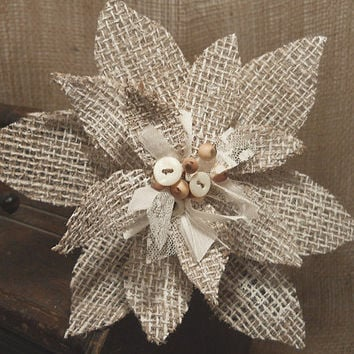 Burlap Christmas Poinsettia Ornament handmade of painted burlap, lace and vintage buttons.