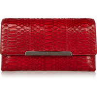 Christian Louboutin - Rougissime python and leather clutch