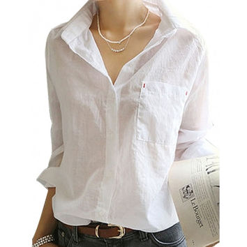 Women T Shirt Button Down Tops Blouse White Sexy OL Long Sleeve Tee Shirt Hotsale