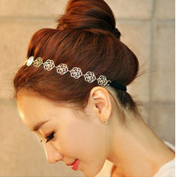 Hollow Rose Hair Band Alloy Elastic Headpiece