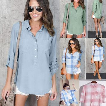 Women's Long Sleeve Loose Blouse Casual Laple Tops Button Down T-Shirt Shirt