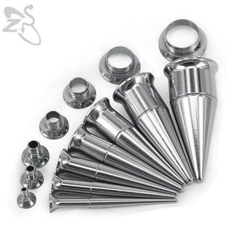 ac ICIKO2Q Trendy Double Flared Ear Plug Tunnel Stainless Steel Screwed Ear Tapers Stretching Kits and Tunnel Ear Gauges Piercing Jewelry