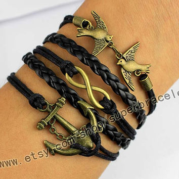 Love birds, anchor, infinity bracelets, Antique bronze bracelet, Vintage style bracelet, men leather bracelet, bangle jewelry