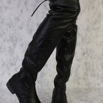 Black Round Toe Knee High Chunky Heel Boots Faux Leather