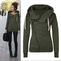Autumn 2017 New Women Sweatshirts Solid Color Hooded Jacket Long Sleeve Women's Hoodie Zipper Fall Winter Women Coat