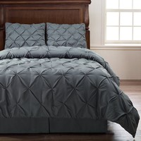 Cozy Beddings Emerson Pinch Pleat 4-Piece Comforter Set, Full, Charcoal