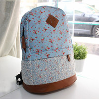 Flora Print Backpack with Lace B
