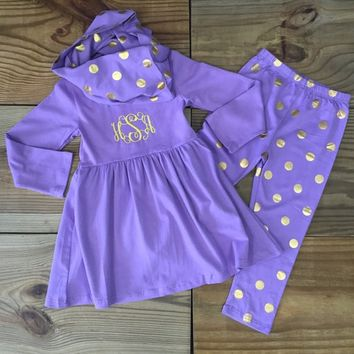 3 Pc Lavender Gold Polka Dot Outfit