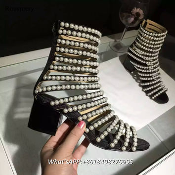Gladiator Bling Pearl Women Shoes Open Toe Chunk Heel Sandals String Bead Cover Heel Summer Shoes High Top Ziper Fashion Shoes