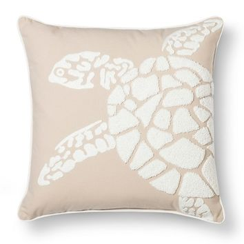 Threshold™ Embroidered Turtle Toss Pillow - Tan