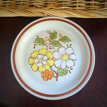 "Imperial Stoneware 10.5"" Plate: Countryside by W.M. Dalton, SUMMERTIME Design, Dessert or Salad Plate for 1970s Vintage Kitchen"