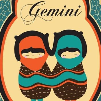 "Gemini Zodiac Sign Art Print / Astrological Illustration of ""GEMINI"" 8x10 Modern Artwork"