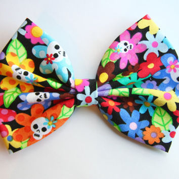 NEW - Floral Skull Hair Bow - Colorful Floral and Skull Print Hair Bow with Clip