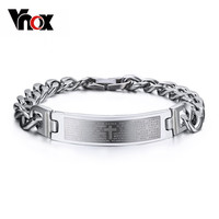 Vnox ID Bracelet Bangle Spanish Bible Cross 316l Stainless Steel Men Jewelry