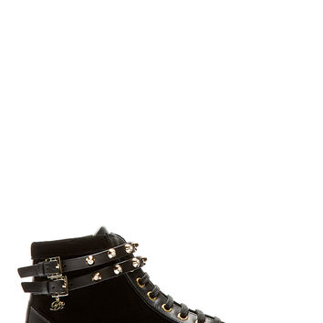 Dsquared2 Black And Gold Suede Studded Wrap Sneakers