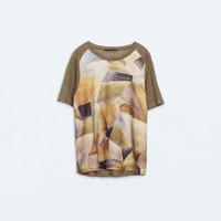 Mixed print linen t-shirt