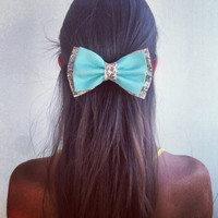 mint and floral brown big hair bow (S-N-013)