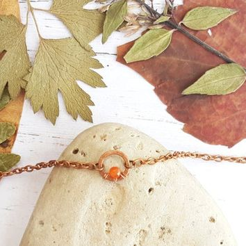 Dainty orange agate anklet - Circle anklet Dainty anklet Boho beach jewelry  Delicate anklet Karma anklet Simple anklet Minimalist anklet