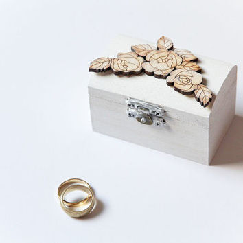 Small White Ring Bearer Box with Roses - Pillow Alternative - Elegant, Floral, Rustic