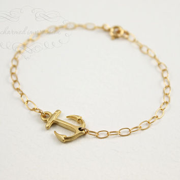 Charm Bracelet Gold Sideways Anchor Bracelet, Custom Initial, Personalized Engraved UP TO 6 Initials, Gold Disc, Symbol of Strength Hope