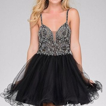Jovani - Bead Embellished V-neck Tulle Fit and Flare Dress JVN47550