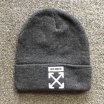 Off White New fashion embroidery arrow couple cap hat Gray
