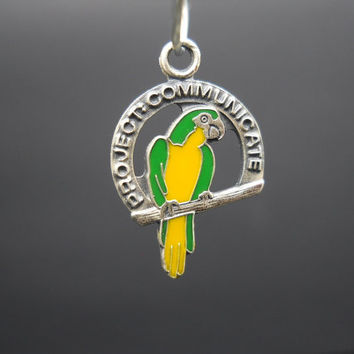 ABWA Project : Communicate Enamel Parrot Charm Sterling Silver American Business Womens Association 925 Vintage 1984