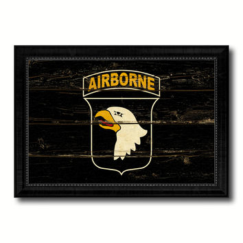 US Army 101st Airborne Military Flag Vintage Canvas Print with Black Picture Frame Home Decor Wall Art Decoration Gift Ideas