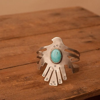 Thunderbird with Turquoise Inlay Cuff