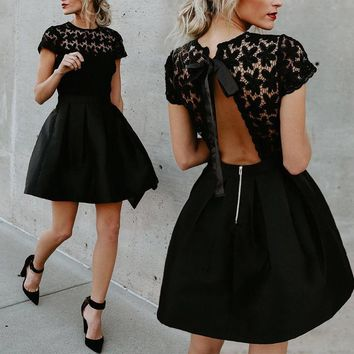Women's Lace Floral Formal  Wedding Clubwear Backless Short Sleeve Women Clothes Dress