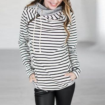 Stripes Stitching Hooded Sweater