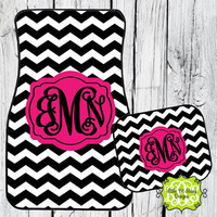 Car Mats Chevron Personalized Monogrammed Floor Car Mat Initial Pink Black