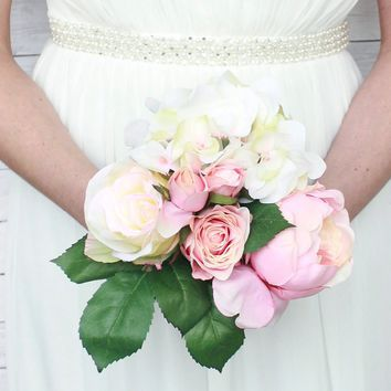 """Hydrangea, Rose, and Peony Silk Flower Bouquet in Pink and Cream11"""" Tall x 7"""" Bouquet Diameter"""