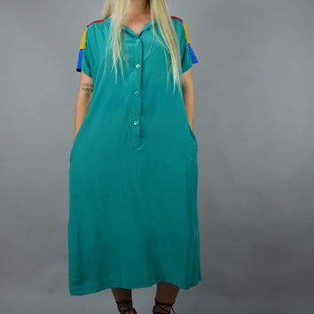 Primary Silk | one size | 1980s Minimalist Vintage Teal Silk Shift Dress Cut Out Colorblock 80s Tunic