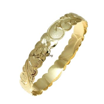 14K Yellow Gold Custom Made Classic Hawaiian Heirloom Scroll 12mm Bangle