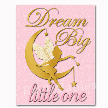 Pink gold nursery art fairy poster baby girl room wall decor dream big little one toddler artwork kids children decoration playroom print