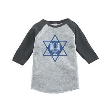 Custom Party Shop Baby's Menorah Hanukkah Raglan Grey