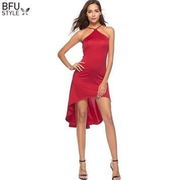 Off Shoulder Sleeveless Irregular Summer Red Dress Women Halter Backless Bandage Beach Party Dresses Ladies Sexy Sundress