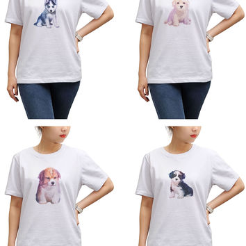 Women Dog hand painted watercolor Printed T-shirt WTS_17