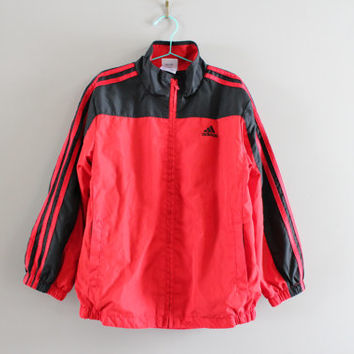 Free US Shipping Kid Adidas Windbreaker Black And Red 3 Stripes Light Weight Adidas Zip Up Jacket 90s Vintage Size 7 Years Olds #C065A