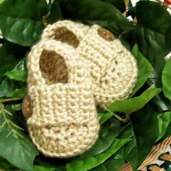 Baby Boy Booties, Bone Loafer Shoes, Crochet, Baby Boy Gift, Baby Shower Gift, Handmade in the USA  #104